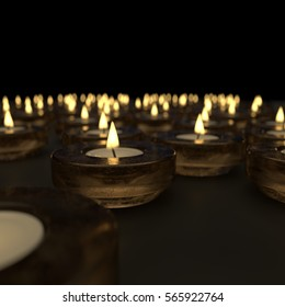 Candle lights 3d illustration