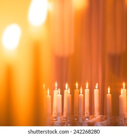Candle Lights Bokeh Background, Candlelight Service