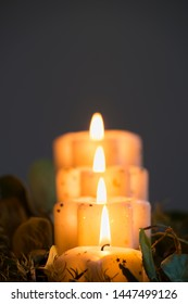 candle lights in the row , for christmas holiday, religion themes