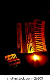Candle lit piano accordions