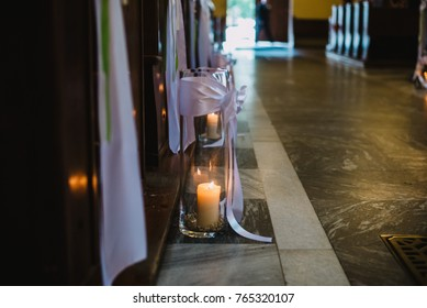 candle on the floor in the church