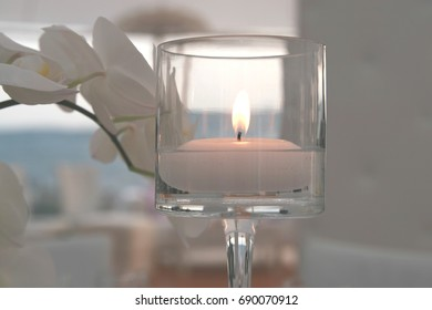 Candle on Tabletop