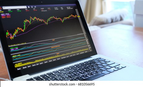 Candle stick chart of stock market on laptop display
