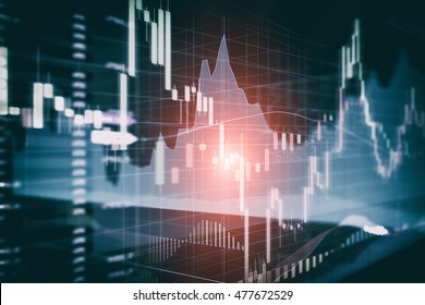 Candle stick graph and bar chart of stock market investment trading. Analysis Forex price display on computer screen.