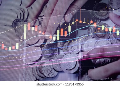 Candle stick graph chart of Forex and stock market investment trading which including of main symbol such as Bullish, Bearish, trend of graph and volume of investment.