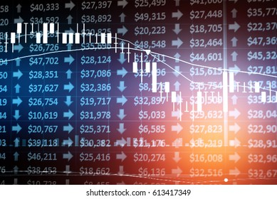 Candle stick graph chart with indicator: Crude oil price stock exchange trading including of up and down trend with divergent reverse price pattern.