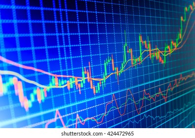 Candle stick graph chart of stock market investment trading. Display of quotes pricing graph visualization. World economics graph. Market analysis for variation report of share price.