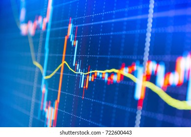 Candle stick graph chart of stock market investment trading. Finance concept. Macro close-up. Market trading screen. Share price quotes. Price chart bars. Stock diagram on the screen.