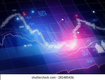 Candle stick stock market tracking graph.