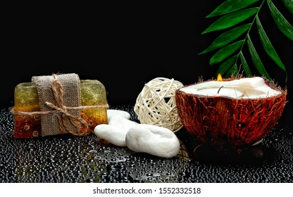 Candle and stone for aromatherapy
