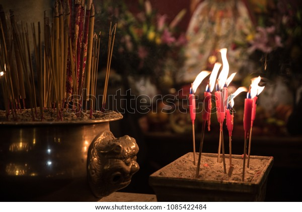 Candlelight Burning Candles Incense Sticks Praying Stock