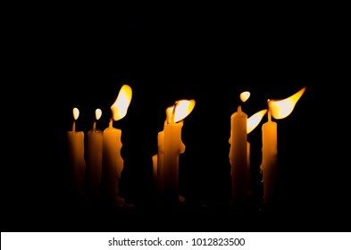 Candlelight in the dark, Present the concept of hope, purpose, belief, religion. Candlelight shines light into the destination.  for Magha Puja, Vesak, Asalha Puja.