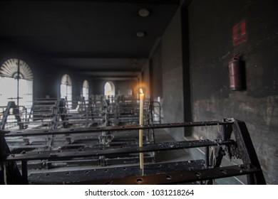 Candles at Aldea de El Rocio in Almonte Huelva province Andalusia Spain on October 14, 2017
