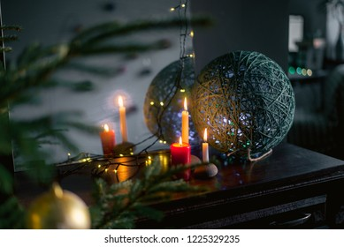 candles burning in the Christmas night, cozy home photo