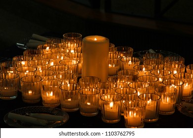 Candles burning during a church service