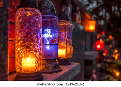 Candles at cemetery on All Saints Day (halloween) in Poland