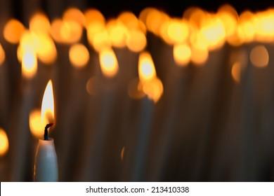 Candles in a church in Lourdes