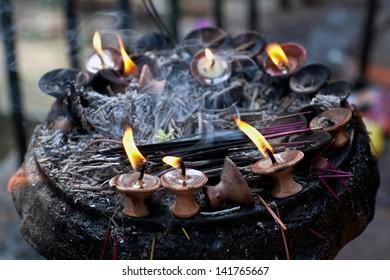 Candles at Dakshinkali Temple in Pharping, Nepal