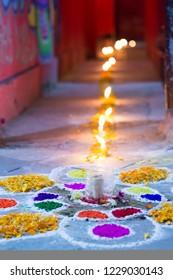 Candles decoration on Diwali week, Nepal.