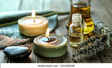 Candles and essential oil used for aromatherapy