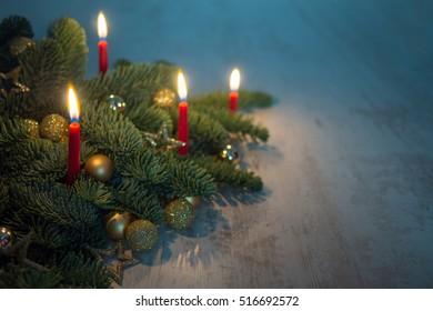 candles at fir branch
