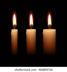 Candles Flame Fire Light Isolated on Black Background. Realistic  Illustration Set
