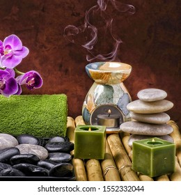 Candles and flower for aromatherapy