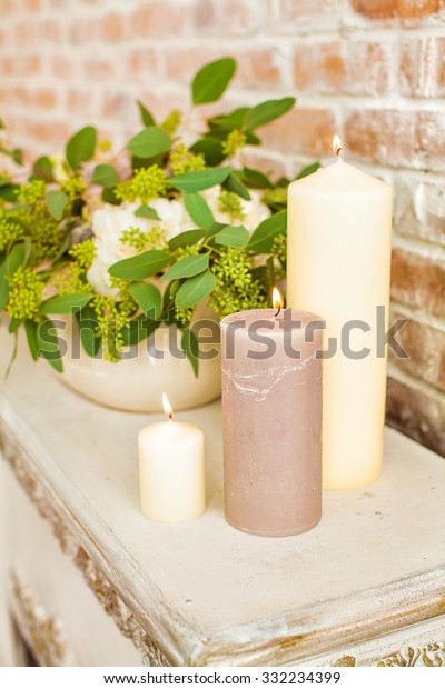 Candles Flowers On Fireplace Decor On Stock Photo Edit Now 332234399