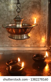Candles in Hindu Temple, Victoria, Seychelles.