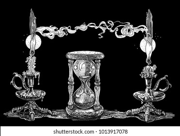Candles and hourglass. Symbolic image of time. Hand drawn ink pen graphic illustration on black background. Occult, witchcraft, ritual, horror, magic, dark, ancient, gothic, tattoo style concept.