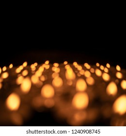 Candles light bokeh isolated on black background