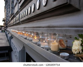 Candles lighted in front of House of Terror in Budapest, Hungary in remembrance of victims of commuist regime in that country.