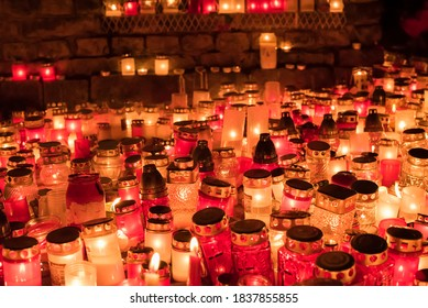 Lot of candles lights in autumn evening. Burning candles in memory for the dead soldiers in Riga.