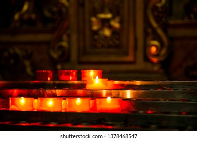 candles lit in the church for a prayercandles lit in the church for a prayer