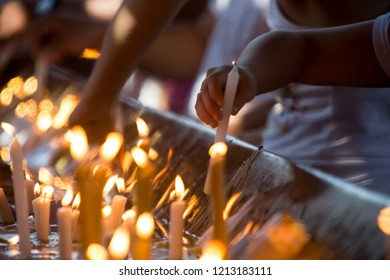 candles lit in a religious act of faith and prayer in the Cathedral of Our Lady Aparecida, Aparecida do Norte in Brazil