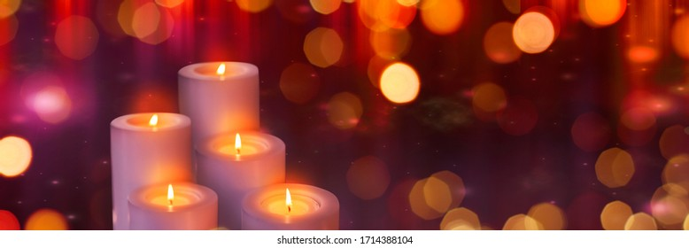 candles in the night with bokeh
