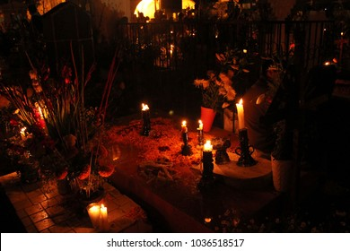 Candles in a offering for the day of the dead, Mixquic, Mexico.