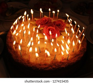 candles on a celebratory pie