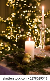 Candles on the Christmas table