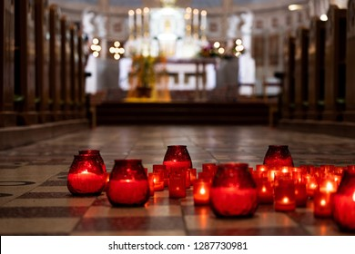Candles on the floor in the church.