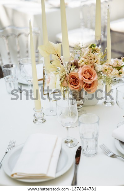 Candles On Wedding Table Decor Stock Photo (Edit Now) 1376344781