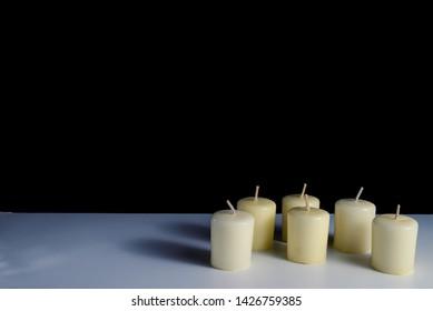 Candles on a white background. Obon festival. Diwali festival