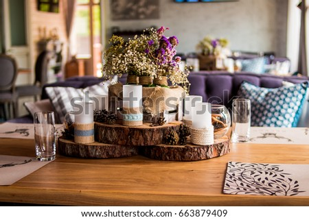 Candles Restaurant Decor Candle Pine Cones Stockfoto (Jetzt ...