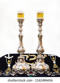 Candles for Shabbat. Silver candlesticks