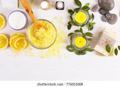 candles and spa, lemon