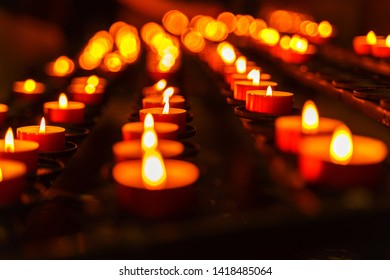 candles in St Stephens temple of Budapest in the memory of deceased people