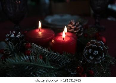 candles, warm, new year, christmas, wax, photo shoot, joy, wreath, spruce, holiday