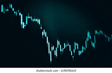 candlestick chart with black background, blue monotone candlestick