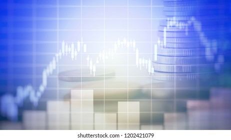 Candlestick chart in forex economy on money background, Illustrations financial, abstrac finance background, forex trading