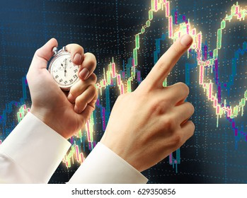 Candlestick chart, stopwatch in hand and pointing forefinger